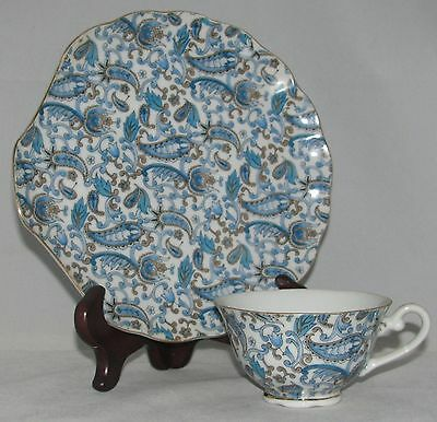 Lefton BLUE PAISLEY (NE2340) All-Over Blue w/ Gold Trim SNACK PLATE & CUP Set