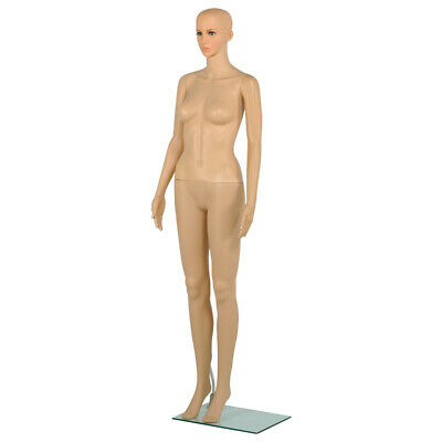 Plastic Female Full Body Realistic Mannequin Display Head Turns Dress Form wBase