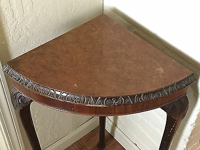 Vintage Antique Large Walnut Light Wood Corner Lamp Display Table, Hand Carved