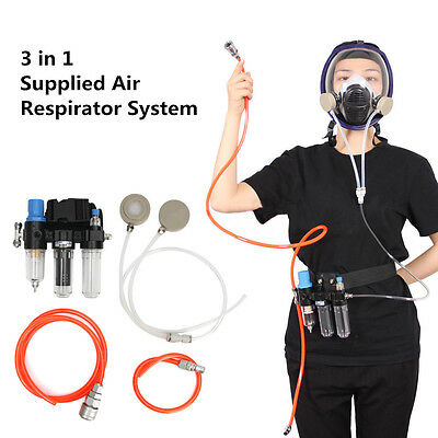 AU New 3 In 1 Function Supplied Air Fed System For Spraying Respirator Gas Mask