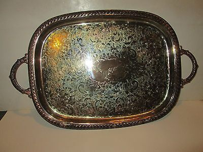 """Vintage Silver Plated Platter Tray Oblong Side Handles Silverplate 18""""x14"""