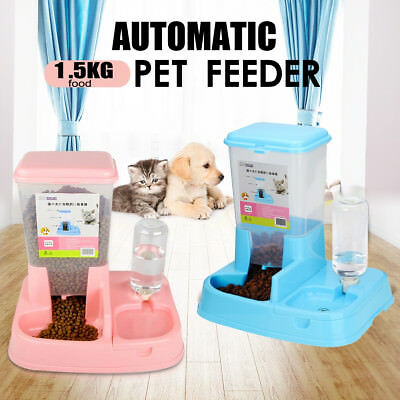 Pet Cat Dog Water Bottle Drinking 1.5kg Food Feeder Dish Bowl Dispenser Fountain