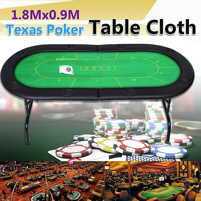 "10 Player 35""x 70"" Texas Holdem Poker Table Cover Felt Game Card Chip Board Mat"