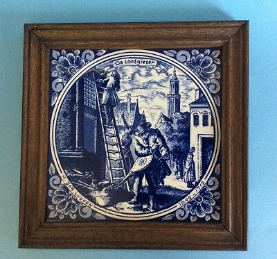 Vintage Delft Blue Hand Painted Tile. De Lootgieter (The Plumber) Holland
