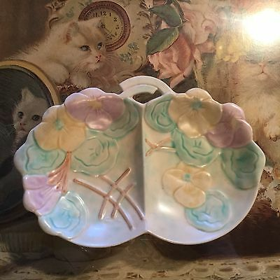 VINTAGE ANTIQUE Art Deco BOOTHS ~ Avon Ware ENGLAND pottery Divided Floral Dish