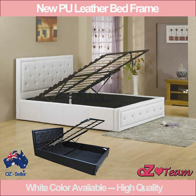 Bed Frame  Gas Lift Pu Leather White / Black Colour Double Queen King Singlesize