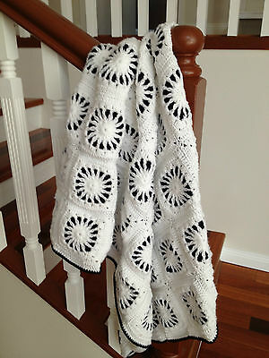 Handmade knitted white and navy chrochet blanket/throw