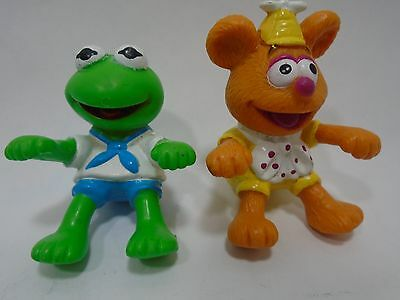 """Fozzie Bear and Kermit the Frog PVC Ha Figures 2"""" cake toppers Muppet Babies"""