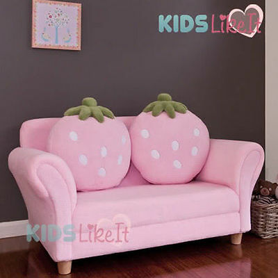 *New Girls PINK 2 Seat Wooden STRAWBERRY SOFA COUCH Kids ARM CHAIR w/ CUSHION