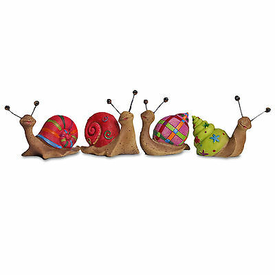 Set of 4 Small Bright Coloured Snail Garden Ornaments Perfect Animals for Pots