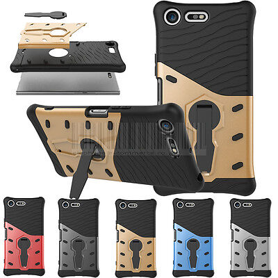 Shockproof Kickstand Armor Case Hybrid Rugged Cover For Sony Xperia XZ Premium