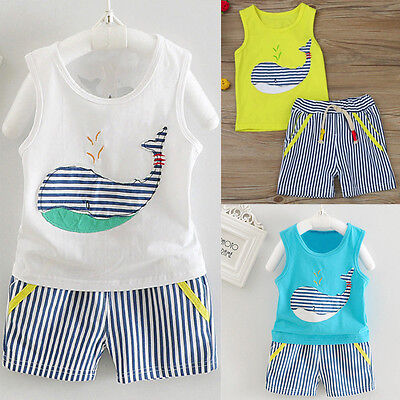 Newborn Baby Boy Girl Tops Vest+Shorts Pants Summer Beach Outfit 2PCS Clothes UK