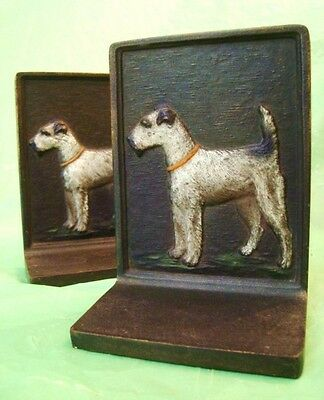 rare BRADLEY & HUBBARD AIREDALE DOG BOOK ENDS Original Paint SOLID CAST IRON