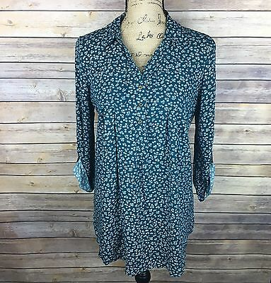 MOTHERHOOD MATERNITY Women's Size Small Teal & White Floral 3/4 Sleeve Top