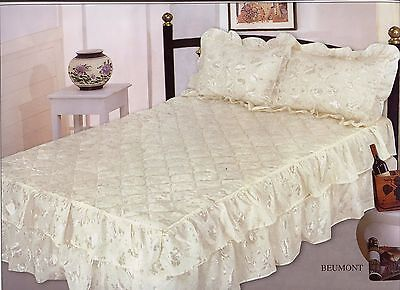 Luxury Satin Frilled Floral Print Bedspread Single Double King Cream Blue White