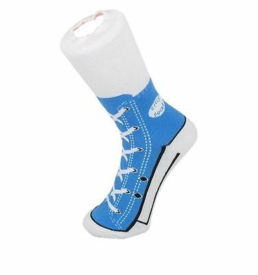 Kids Silly Socks Sneaker Novelty Hightop Style Blue Size 1-4