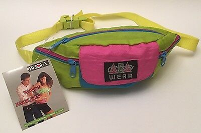 New With Tags Vintage Original 80's - 90's Neon Colors Fanny / Waist / Hip Pack