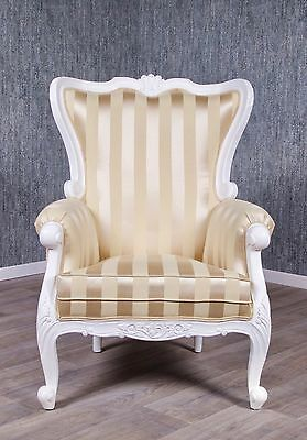 Baroque Chair Antique Solid Ornamental High Back White Art Style Furniture