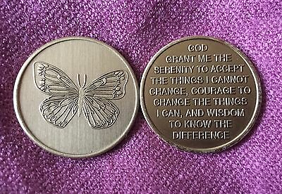 Butterfly with Serenity Prayer ~ AA Al-Anon NA ~ 12 Step Bronze Medallion