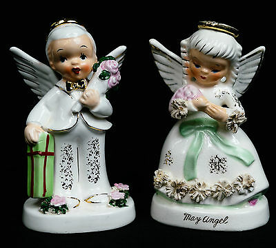 Napco May Boy Girl Angel w/ Gift & Flowers Bouquet Birthday A1921 A1365 *