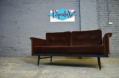 Retro Vintage Mid Century Brown Dralon Day Bed Studio Couch Sofa