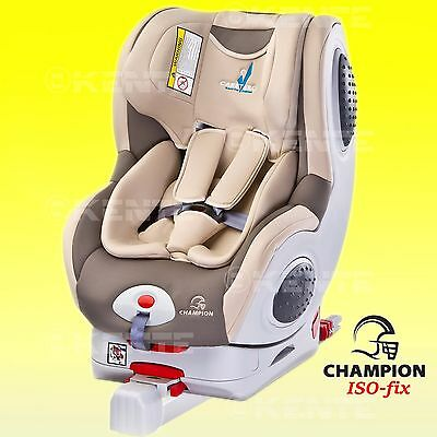 Baby Child Car seat Champion Rear and Forward Facing BEIGE 0-18 kg ISO Fix base