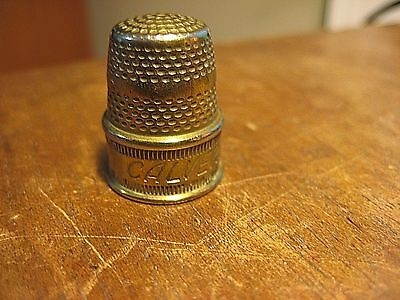 Vintage  Brass Thimble  Calvert  Band  Advertising  Design  Sewing Old Antique