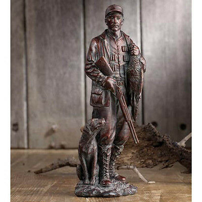 Bronze Duck Hunter Statue with Labrador Dog Shotgun Bird Man Cave Hunting Lodge