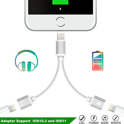 2 in 1 Lightning to Dual Headphone Adapter Charge Cable For iPhone 7 / 7 Plus