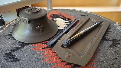Old Mission Kopperkraft /fred Brosi  Copper Inkwell, Pen Tray And Pens