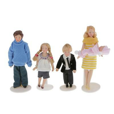 1:12 Dolls House Miniature Modern Family of 5 Poseable Porcelain People Doll