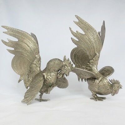 Collectible Vintage Hand Made Set Fighting Cock Rooster Silver Sculptures Brass
