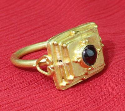 stunning super rare Viking 9-10th century solid gold ring with a cabochon garnet