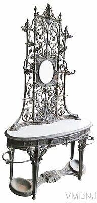 VMD 1429 Dale Co. Wrought Iron Marbletop Hall Rack