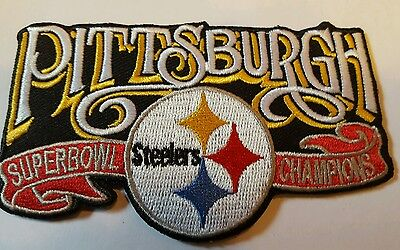 """NFL Pittsburgh Steelers Vintage Embroidered Iron On Patch Super Bowl 4"""" x 2.5"""""""