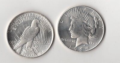 1965 P Peace Dollar Silver Plated Novelty Fantasy Issue Coin AU to BU