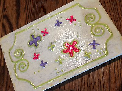 Vintage 1970's Wooden Box Hand Painted with Flowers