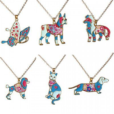 Fashion Rainbow Enamel Dog Cat Butterfly Pendant Necklace Women Jewelry Party
