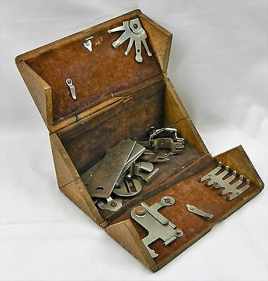 Antique Sewing Machine Parts Puzzle Box Oak Vtg Fold Out Attachments Lot 1889