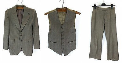 Vintage 1970s Three Piece Suit Mid Brown Herringbone Wool 3 Tweed 31 W & 30 L