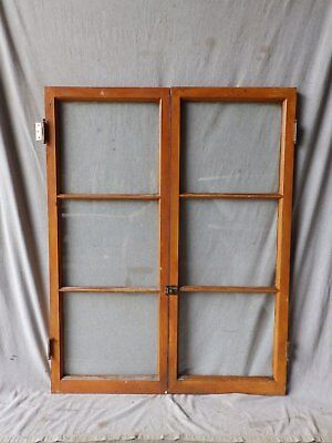 Pair Antique Casement Window Bookcase Cupboard Cabinet 3 Lite Door 47X18 201-17P