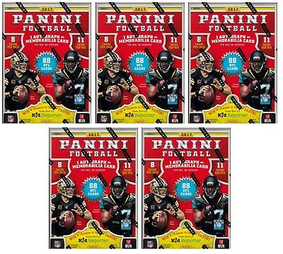 5x 2017 Panini Football sealed blaster box 11 packs of 8 NFL cards 1 hit