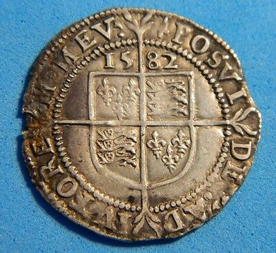 Very Nice High Grade Tudor Period 1582 Elizabeth 1St Silver Sixpence  Mm Sword
