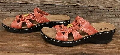Womens Clarks Leather Coral/Pink Slip On Sandals/Shoes Sz 9M