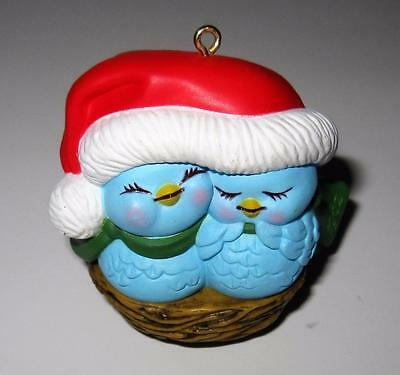 Avon NESTLED TOGETHER 1982 Love Birds Porcelain Christmas Ornament, 2 1/4""