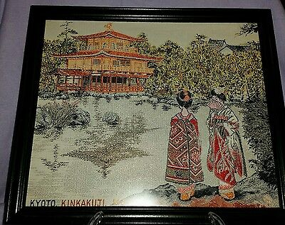 1930's Japanese Silk Embroidered Buddhist Temple Kinkakuji Framed Under Glass