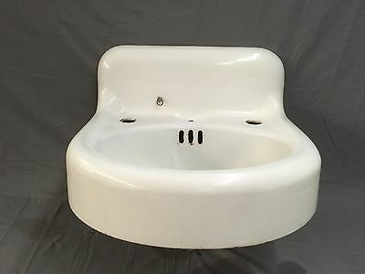 Antique Cast Iron White Porcelain Bathroom Sink Plumbing Old Vintage 482-17E