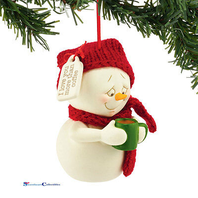 Dept 56 Snowpinions 4053200 Love You More Than Coffee Ornament  2016
