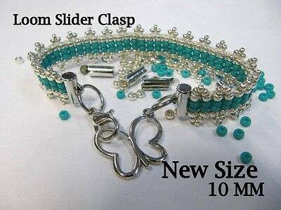 End Caps Slider Clasps, 1/4 Inch, Silver Color, Loom Bead, 18 Piece/9 Set