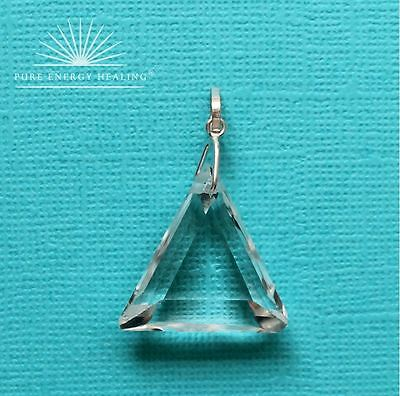 John of God Blessed Energised – Small Pendant Clear Quartz Crystal Triangle BA0